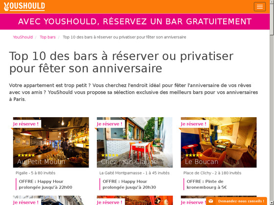 bar anniversaire à Paris